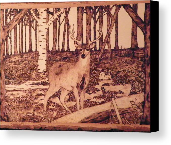 Forest Canvas Print featuring the pyrography Autumn Deer by Andrew Siecienski