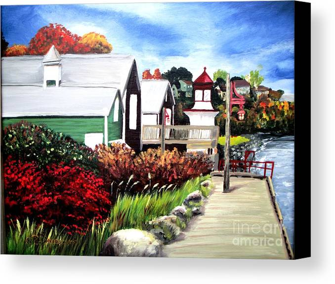 Lighthouse Canvas Print featuring the painting Autumn Lighthouse Miramichi New Brunswick Canada by Patricia L Davidson