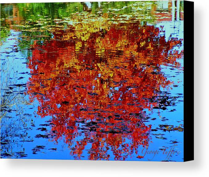 Reflections Autumn Trees Fall Water Colorful Colorado Canvas Print featuring the photograph Autumn Reflection by George Tuffy