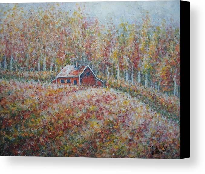 Landscape Canvas Print featuring the painting Autumn Whisper. by Natalie Holland