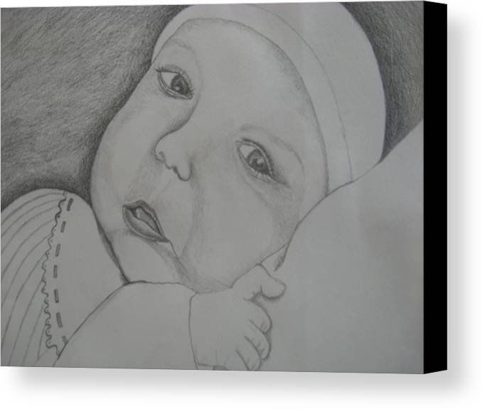 Baby Canvas Print featuring the drawing Baby Girl Horizontal by Theodora Dimitrijevic