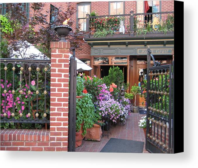 Courtyard Canvas Print featuring the photograph Baltimore Cafe     By Jean Carton by Jerrold Carton