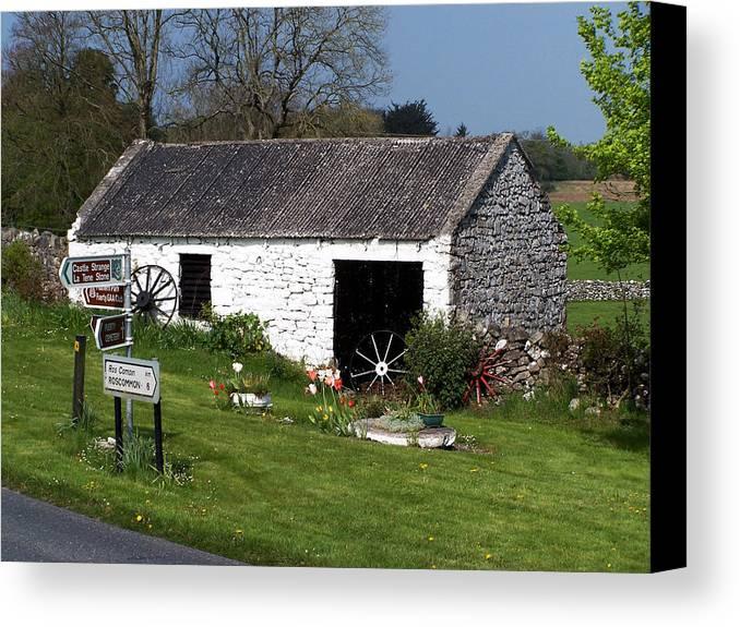 Ireland Canvas Print featuring the photograph Barn At Fuerty Church Roscommon Ireland by Teresa Mucha