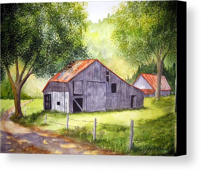 Nc Canvas Print featuring the painting Barn By The Road by Julia RIETZ