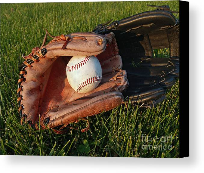 Baseball Canvas Print featuring the photograph Baseball Gloves After The Game by Anna Lisa Yoder