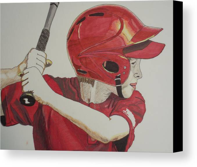 Baseball Canvas Print featuring the drawing Baseball Ready 2 by Michael Runner