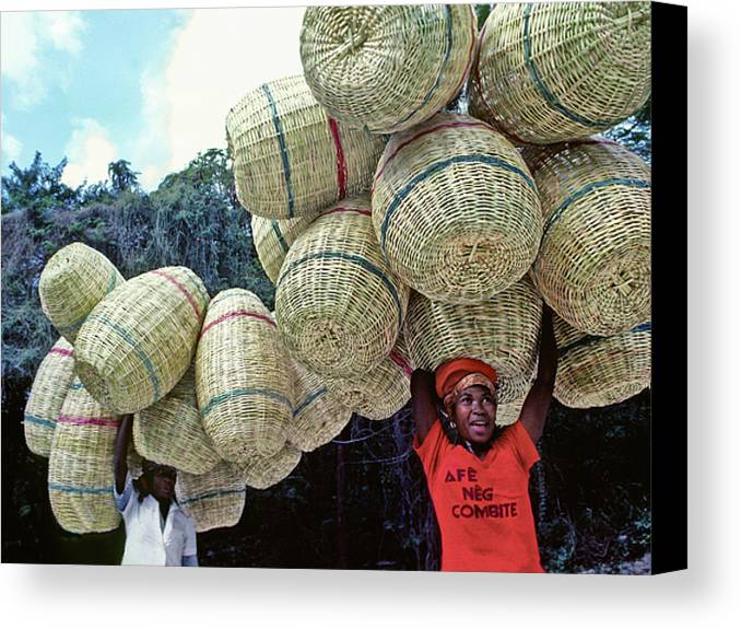 Haiti Canvas Print featuring the photograph Basket Lady by Johnny Sandaire