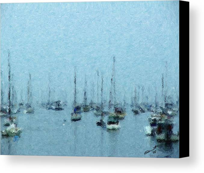 Sail Boats Marblehead Mass Harbor Sailing Anchored Bay Sea Canvas Print featuring the painting Bateaux Au Repos by Eddie Durrett