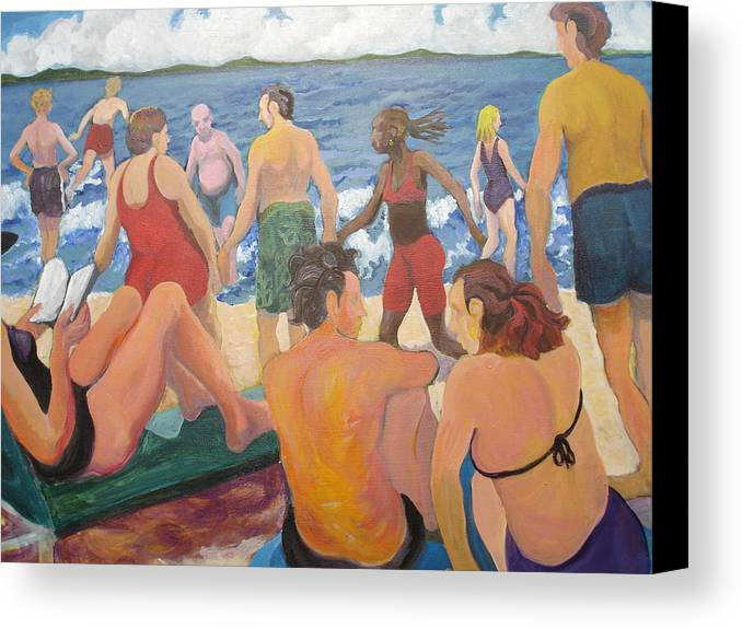 People Canvas Print featuring the painting Beach Day by Rufus Norman