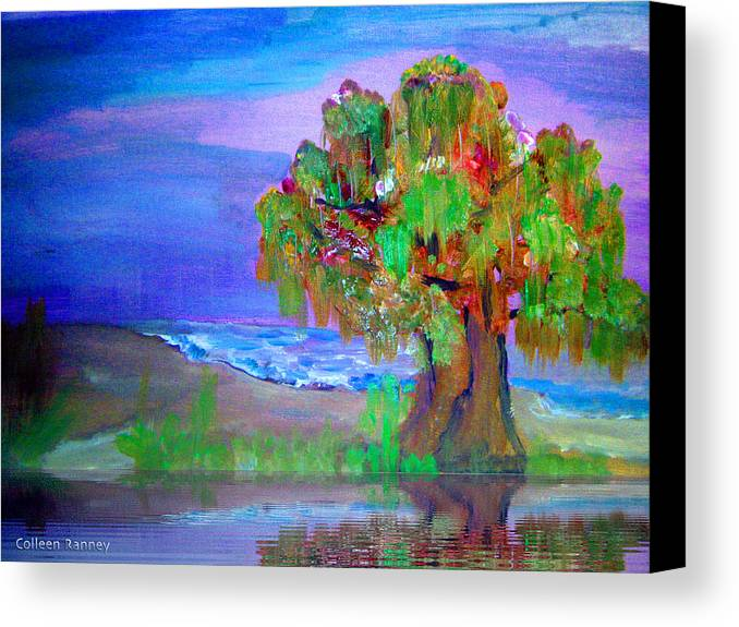 Color Canvas Print featuring the painting Beach Tree by Colleen Ranney