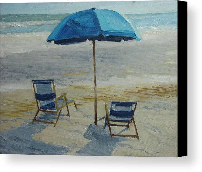 Beach Canvas Print featuring the painting Beach Umbrella - Hilton Head by Robert Rohrich