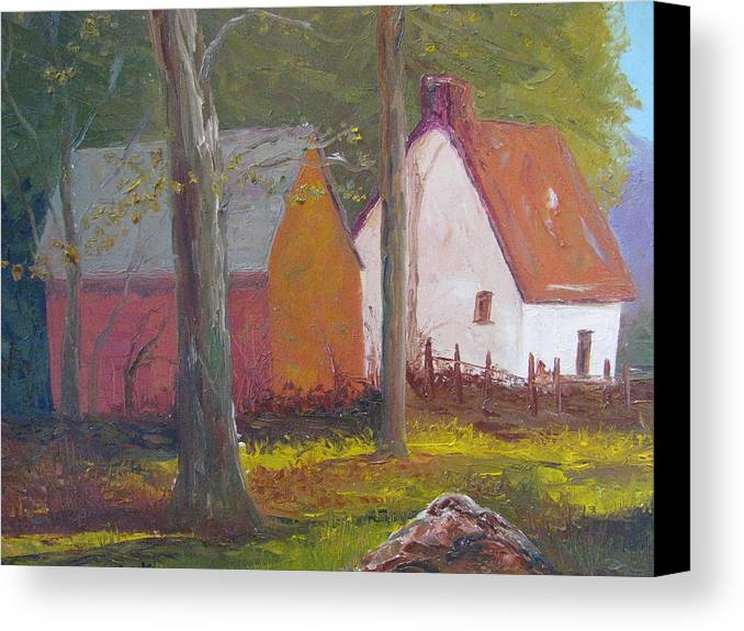 Oil Painting Canvas Print featuring the painting Beekeeper's Cottage by Belinda Consten