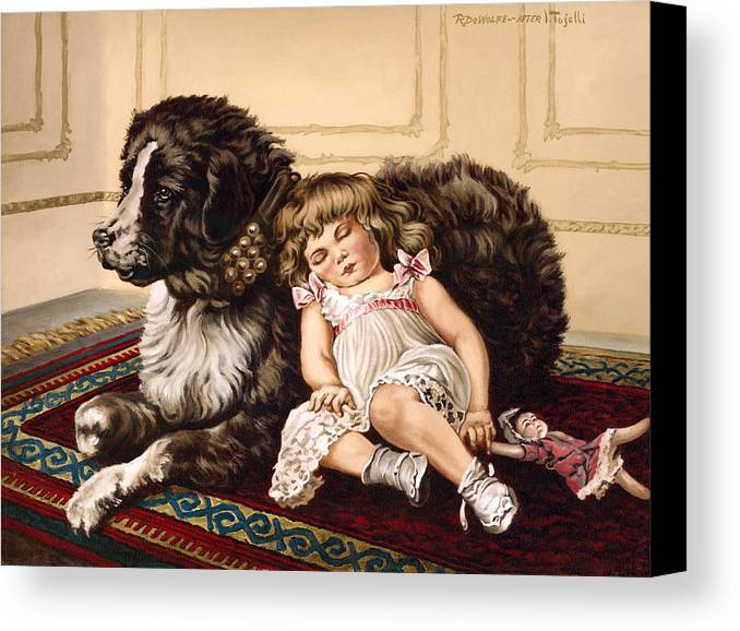 Victorian Canvas Print featuring the painting Best Friends by Richard De Wolfe