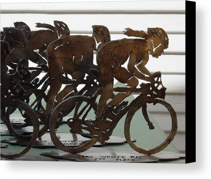 Steel Canvas Print featuring the sculpture Bicycle Trophies by Steve Mudge