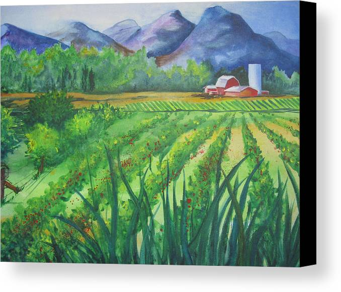 Landscape Canvas Print featuring the painting Big Valley Farm by Karen Stark