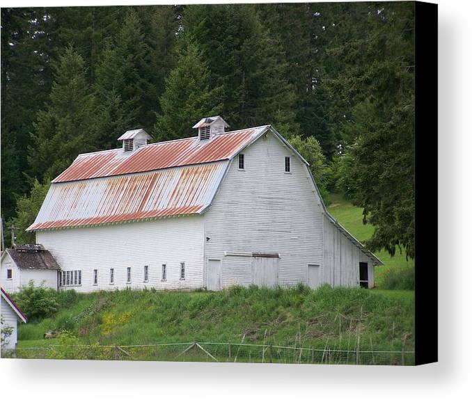White Canvas Print featuring the photograph Big White Old Barn With Rusty Roof Washington State by Laurie Kidd