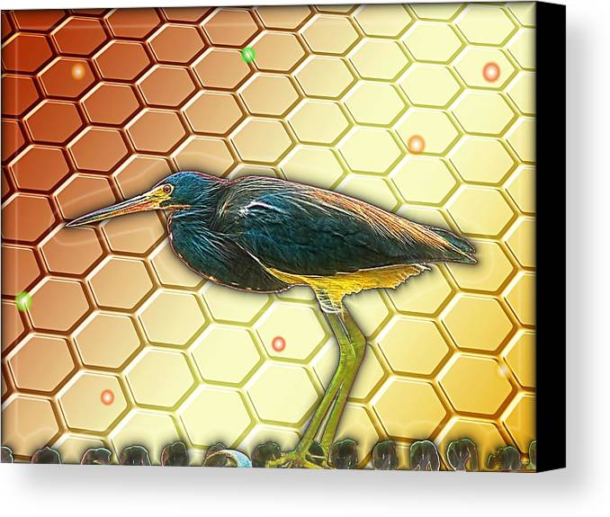 Bird Canvas Print featuring the digital art Bird Ponders The Disappearing Bees And Several Biological Markers Left In The Hive by Wendy J St Christopher