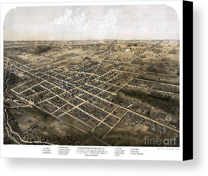 Map Canvas Print featuring the painting Birds Eye View Of The City Of Coldwater, Michigan - 1868 by Pablo Romero