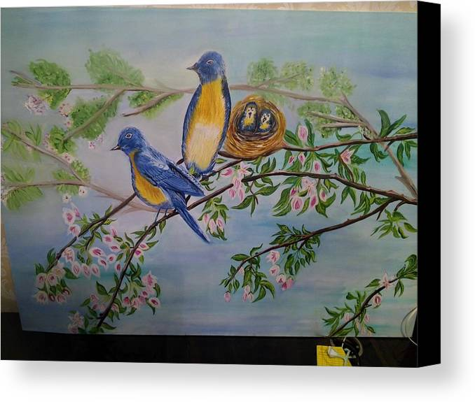 Birds Nature Nest Family Canvas Print featuring the painting Birds Nest Family by Mamta Rathi
