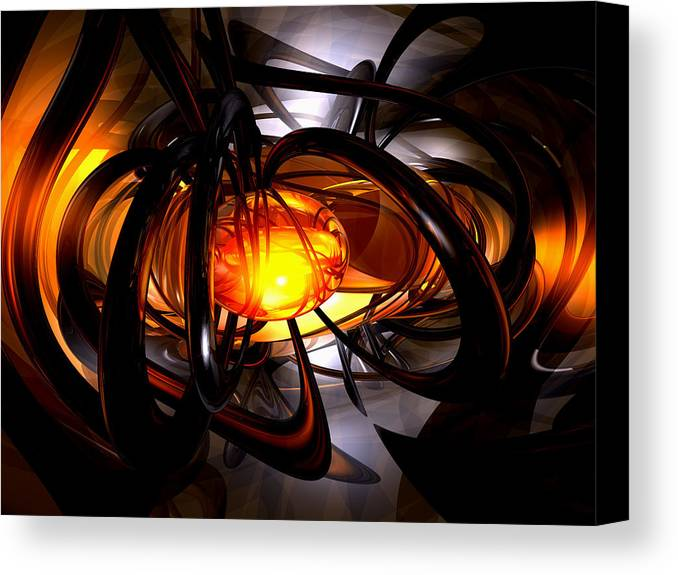 3d Canvas Print featuring the digital art Birth Of A Sun Abstract by Alexander Butler