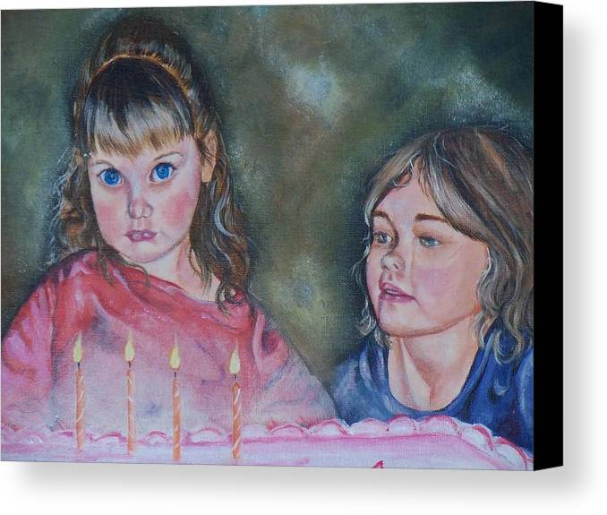 Children Canvas Print featuring the painting Birthday Candles by Sandra Valentini