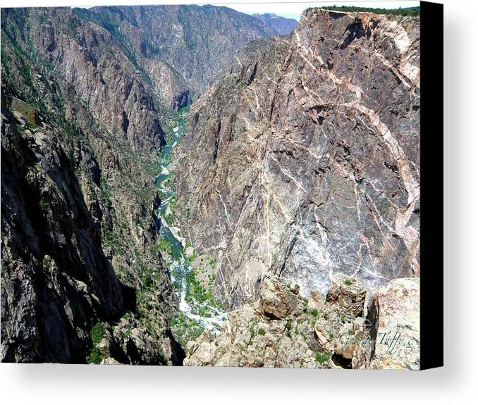 Black Canyon Gunnison River Colorado Rocky Mountains River Canyon Canvas Print featuring the photograph Black Canyon by George Tuffy