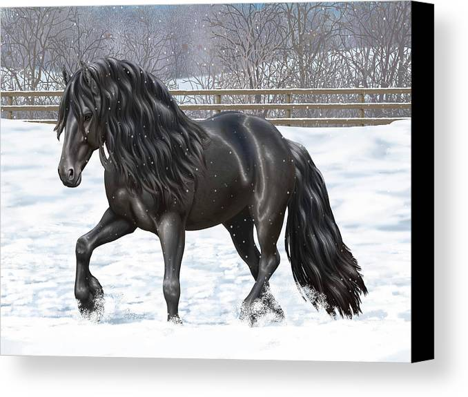 Horses Canvas Print featuring the painting Black Friesian Horse In Snow by Crista Forest