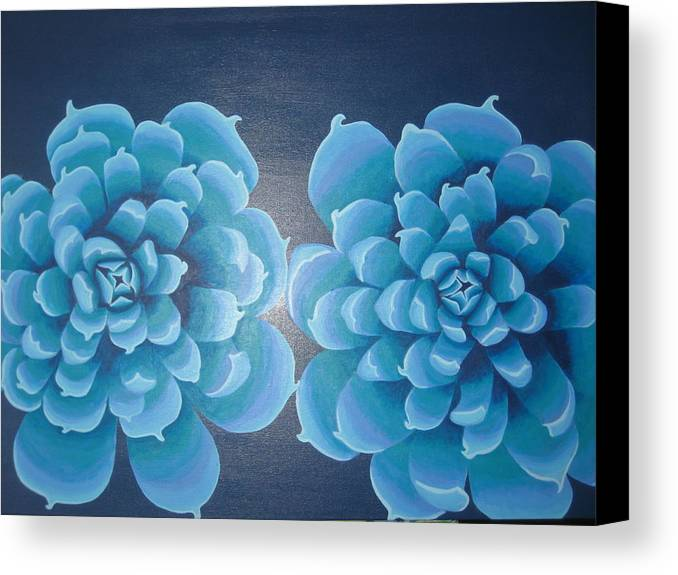 Blue Canvas Print featuring the painting Blue Autum by Sarah England-Rocca