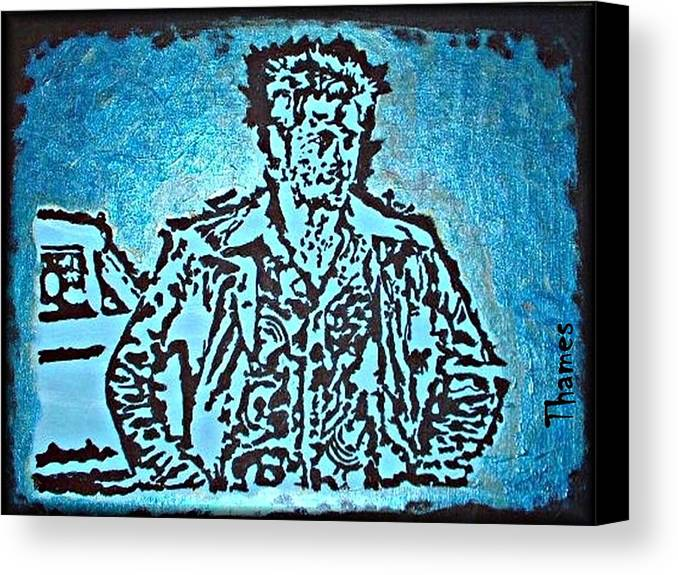 brad Pitt Canvas Print featuring the painting Blue Brad by Christopher Thames