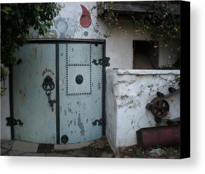 Feed Mill Cafe Canvas Print featuring the photograph Blue Door by Sheep McTavish