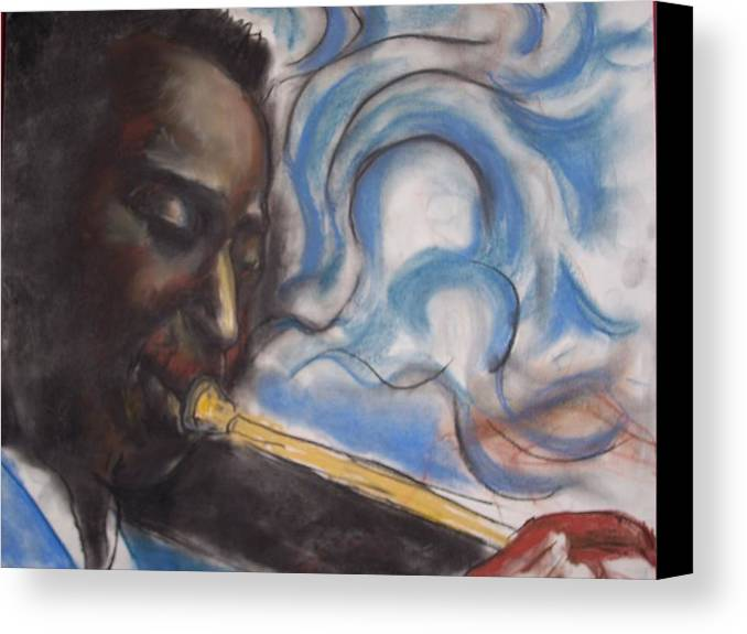 Miles Davis Canvas Print featuring the print Blue Miles by Darryl Hines