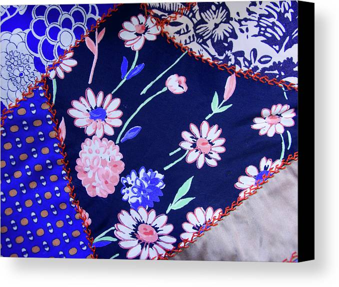 Quilt Art Canvas Print featuring the photograph Blue On Blue by Bonnie Bruno