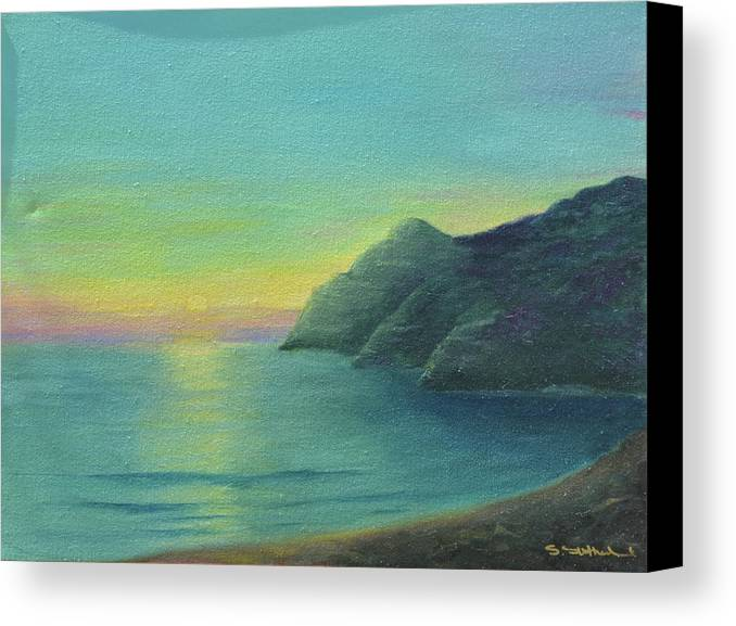 Sunrise And Cliffs Canvas Print featuring the painting Blue by Sheryl Sutherland