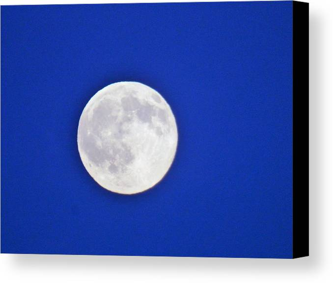 Moon Maine Night Sky Canvas Print featuring the photograph Blue Sky Moon by Scott Welton