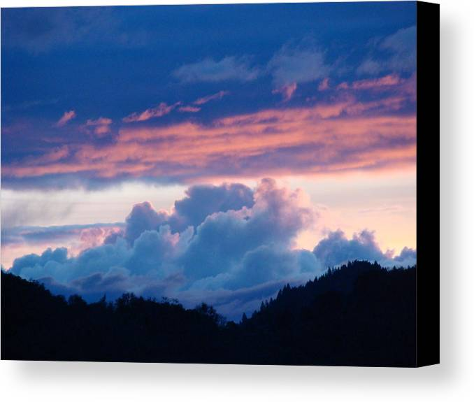 Sunset Canvas Print featuring the photograph Blue Twilight Clouds Art Prints Mountain Pink Sunset Baslee Troutman by Baslee Troutman