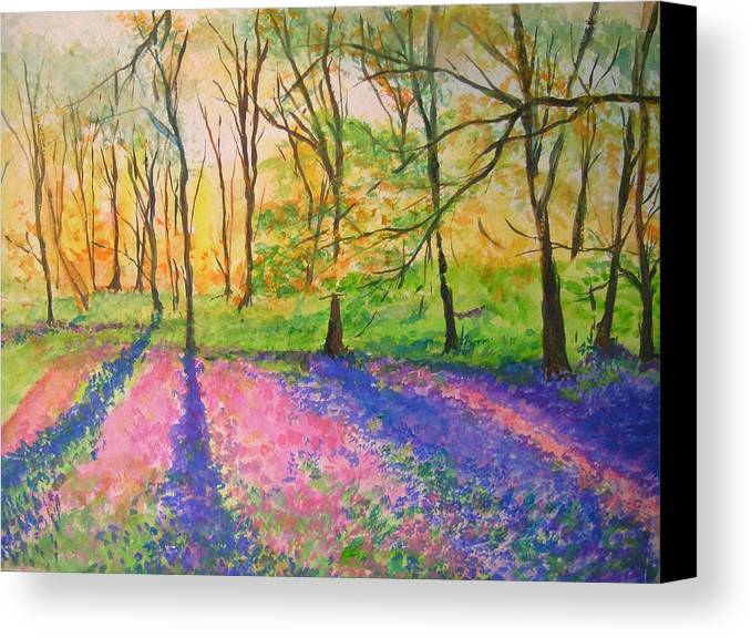 Landscape Canvas Print featuring the painting Bluebell Wood by Lizzy Forrester