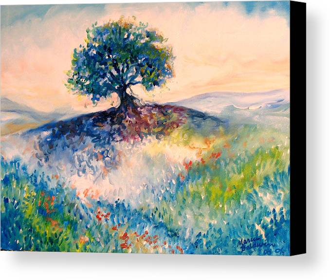 Tree Canvas Print featuring the painting Bluebonnet Hill by Marcia Baldwin