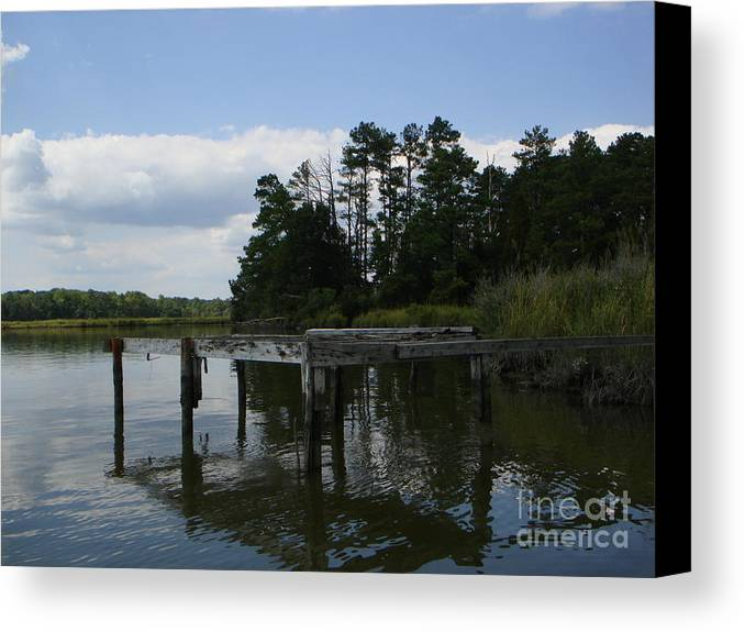 Boat Doc Canvas Print featuring the photograph Boat Dock On The Bay by PJ Cloud