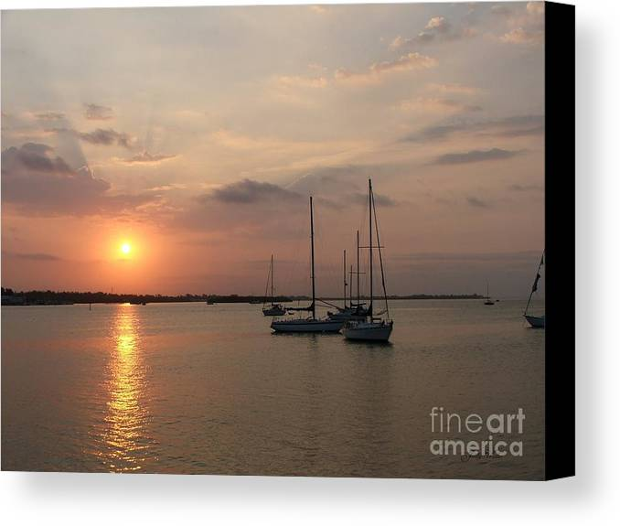 Sunrise Canvas Print featuring the photograph Boats At Sunrise by Judy Waller