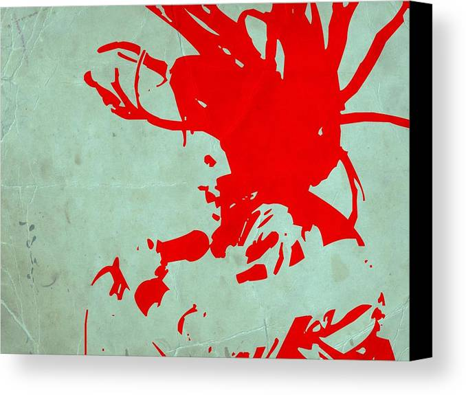 Canvas Print featuring the painting Bob Marley Red by Naxart Studio