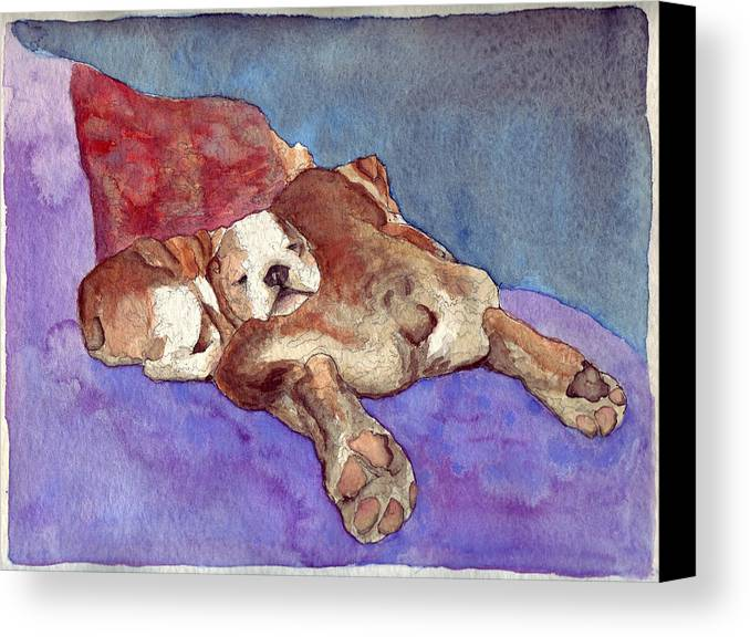 Dogs Canvas Print featuring the painting Bogs N Hugs by Julia Collard