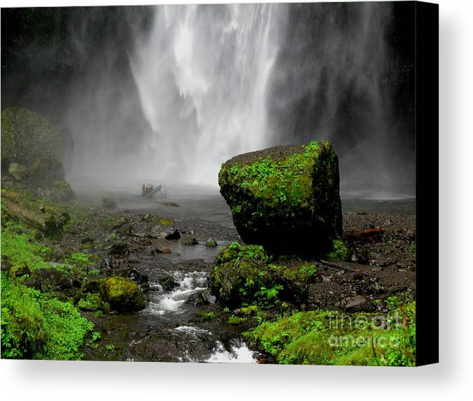 Waterfall Canvas Print featuring the photograph Bottom Of Wakeena Falls by PJ Cloud