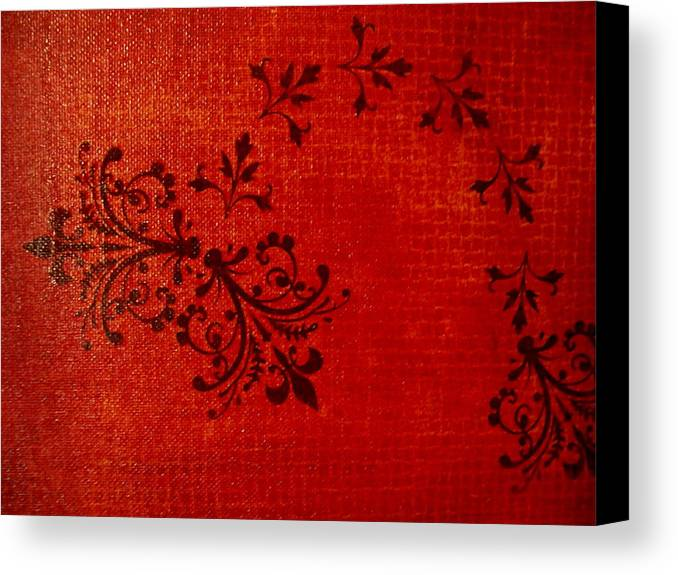 Red Canvas Print featuring the painting Boudoir One by Laurette Escobar