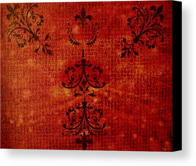 Red Canvas Print featuring the painting Boudoir Three by Laurette Escobar