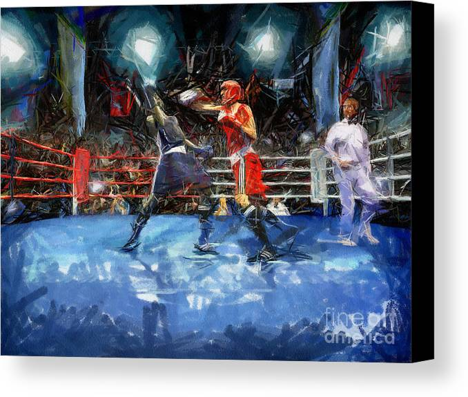 Boxing Canvas Print featuring the painting Boxing Night by Murphy Elliott
