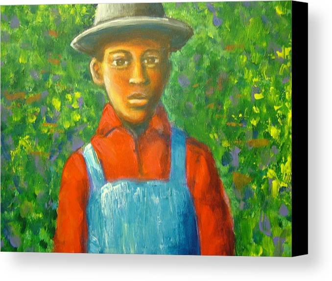 Painting Canvas Print featuring the painting 'boy In The Woods' by Jan Gilmore