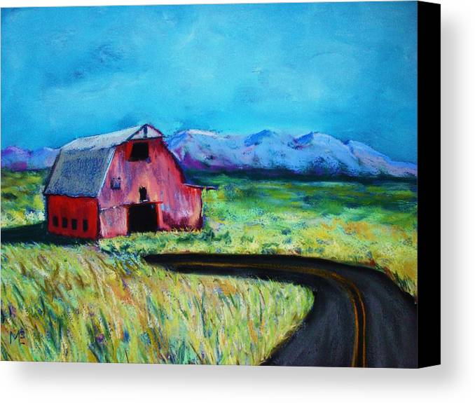 Barn Canvas Print featuring the pastel Bradley's Barn by Melinda Etzold