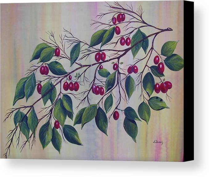 Fruits Canvas Print featuring the painting Branch Of Spice by Murielle Hebert