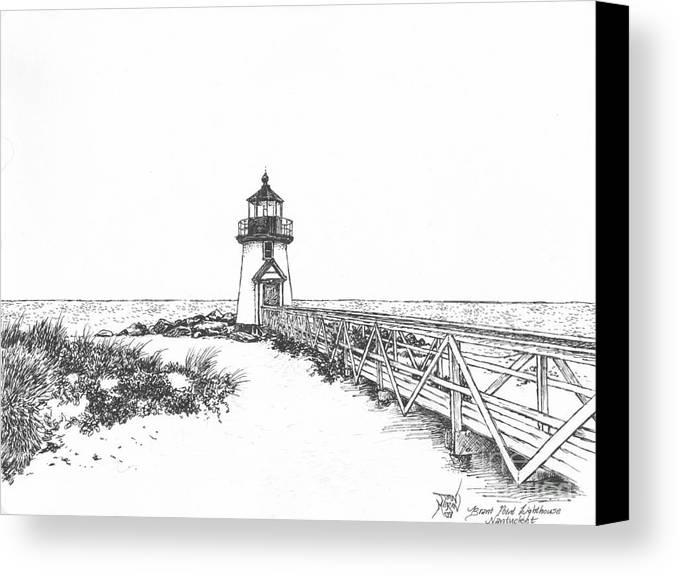Lighthouse Canvas Print featuring the drawing Brant Point Lighthouse by Dan Moran