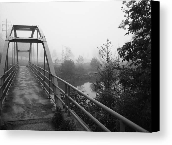 Bridge Canvas Print featuring the photograph Bridge In Fog by Karen Summers